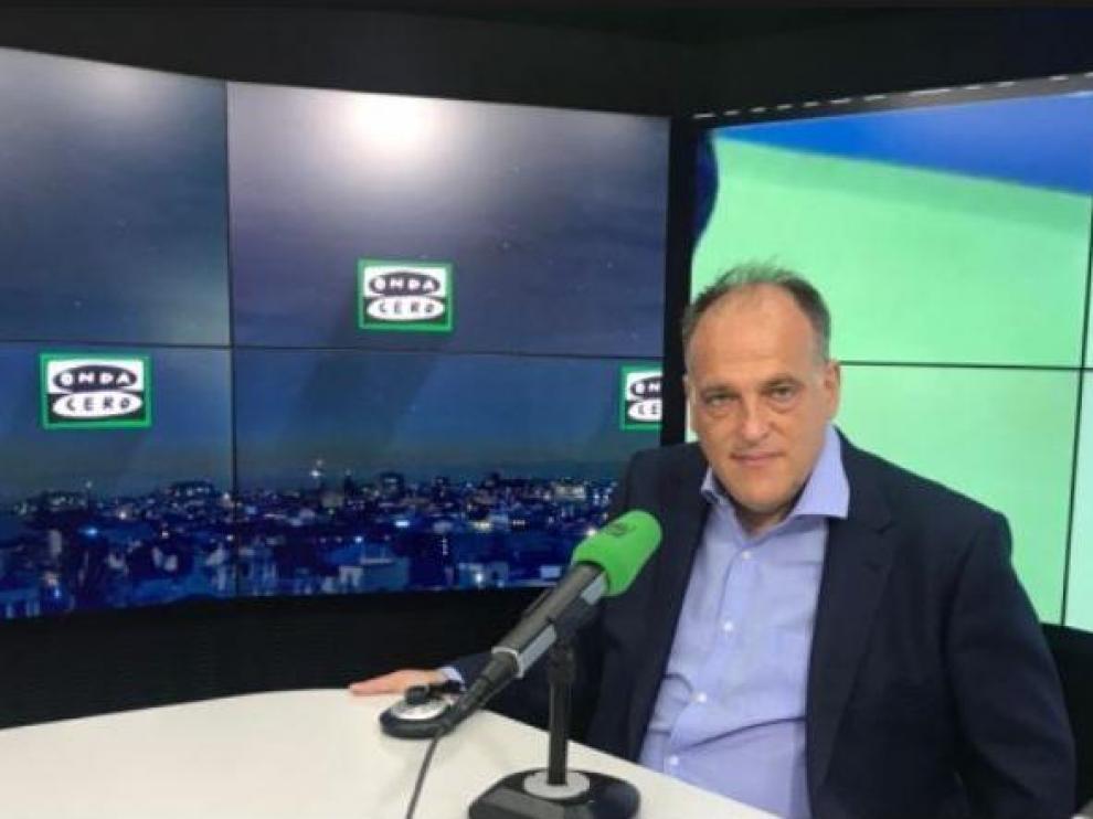Javier Tebas, en su participación en Onda Cero donde habló de los partidos de los viernes y los lunes.