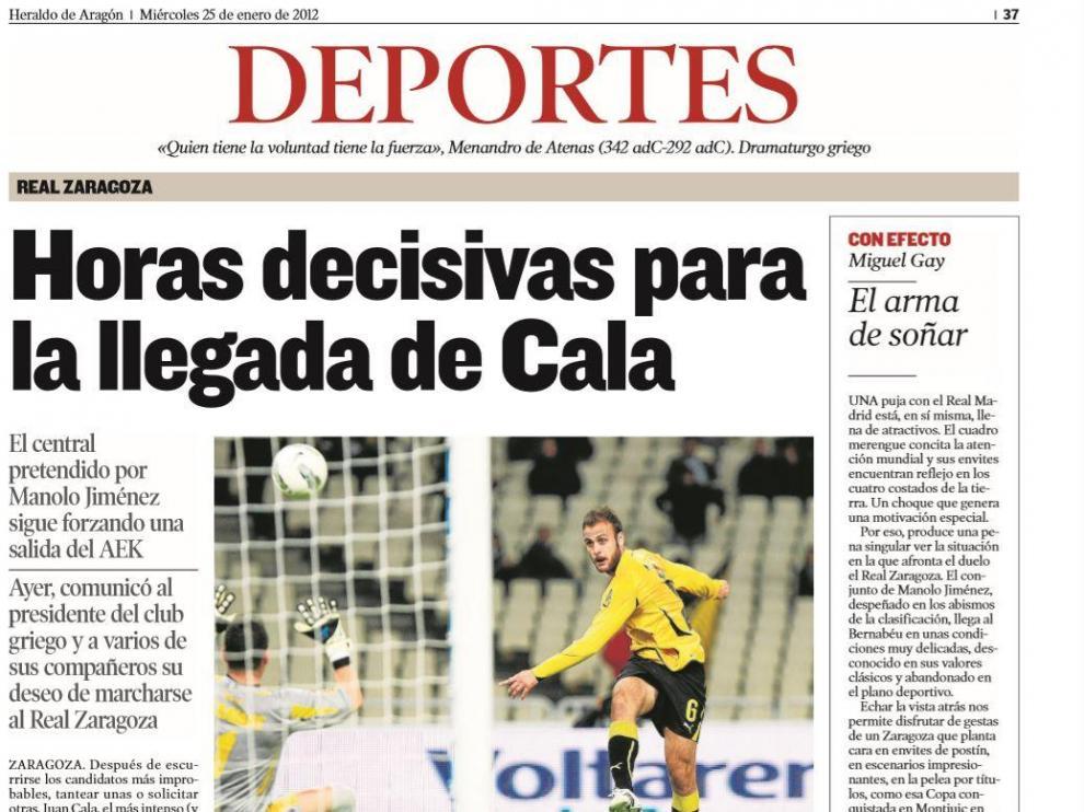 Información de HERALDO DE ARAGÓN en enero de 2012, cuando Cala estuvo a punto de llegar al Real Zaragoza, entonces en Primera División.