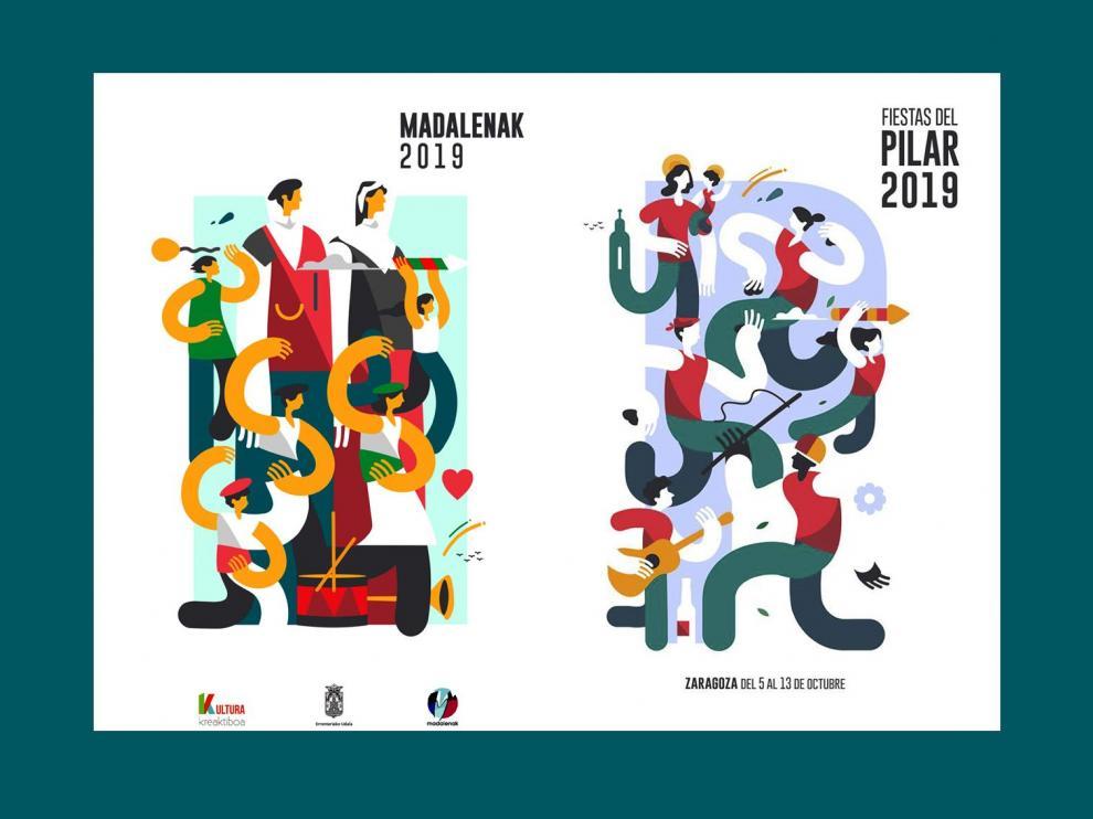 El cartel de Madalenak y de las Fiestas del Pilar de Samuel Akinfenwa