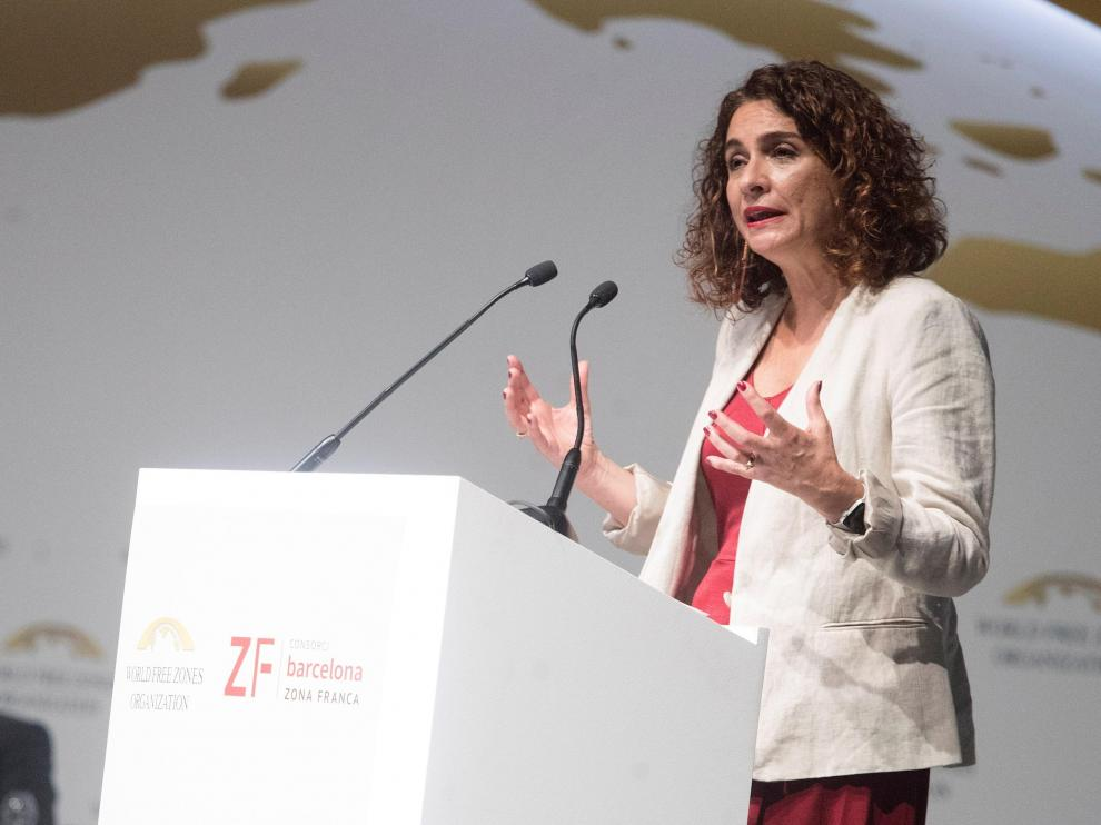 La ministra de Hacienda en funciones, María Jesús Montero, este jueves en Barcelona.
