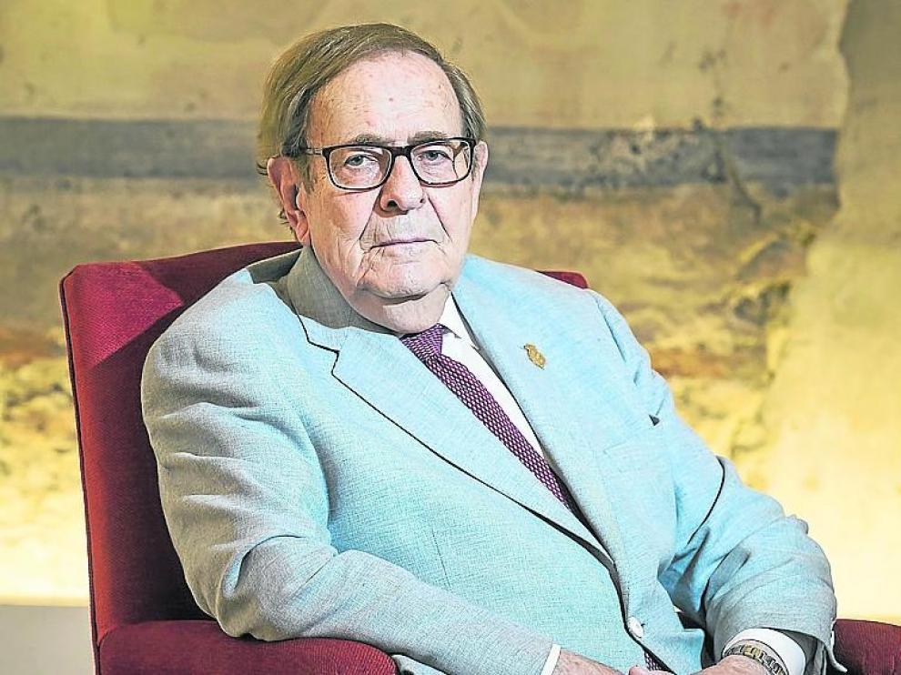 Ramón Tamames, este jueves en el Hotel Alfonso I, en Zaragoza.