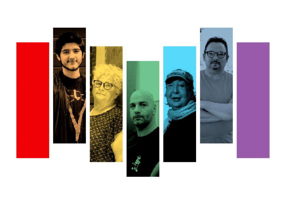 Aiden Saiz, Conchi Arnal, Juan Diego Ramos, Miryam Amaya y Pedro Roger, activistas del colectivo LGTB+