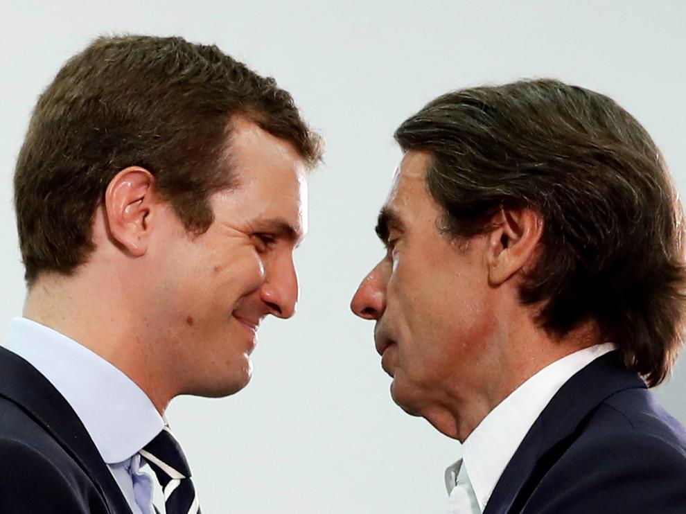 Pablo Casado y José María Aznar en la inauguración de los cursos de verano de la FAES.