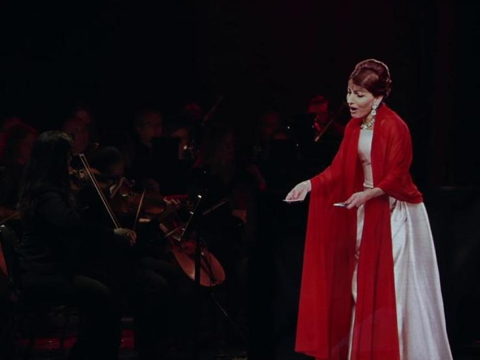 El holograma de Maria Callas, en un concierto de 2018.