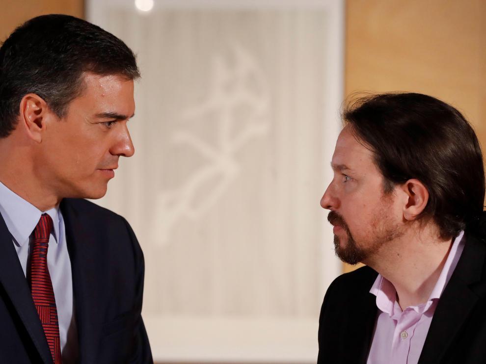 Reunión de Pedro Sánchez y Pablo Iglesias.