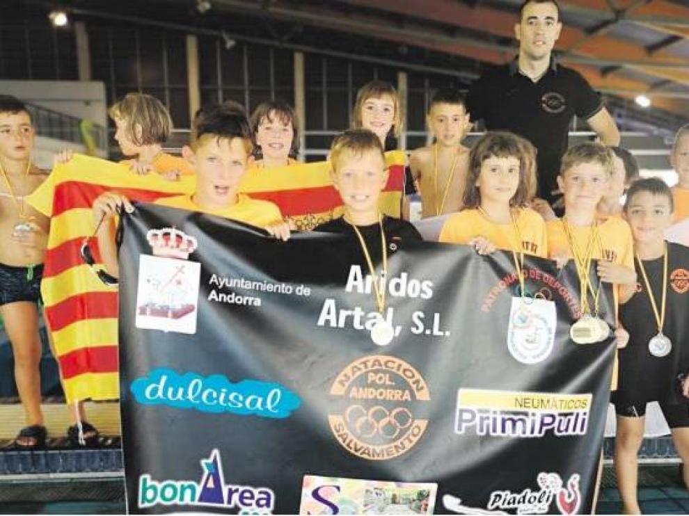 La representación del Polideportivo Andorra en el Nacional de salvamento y socorrismo de Valencia