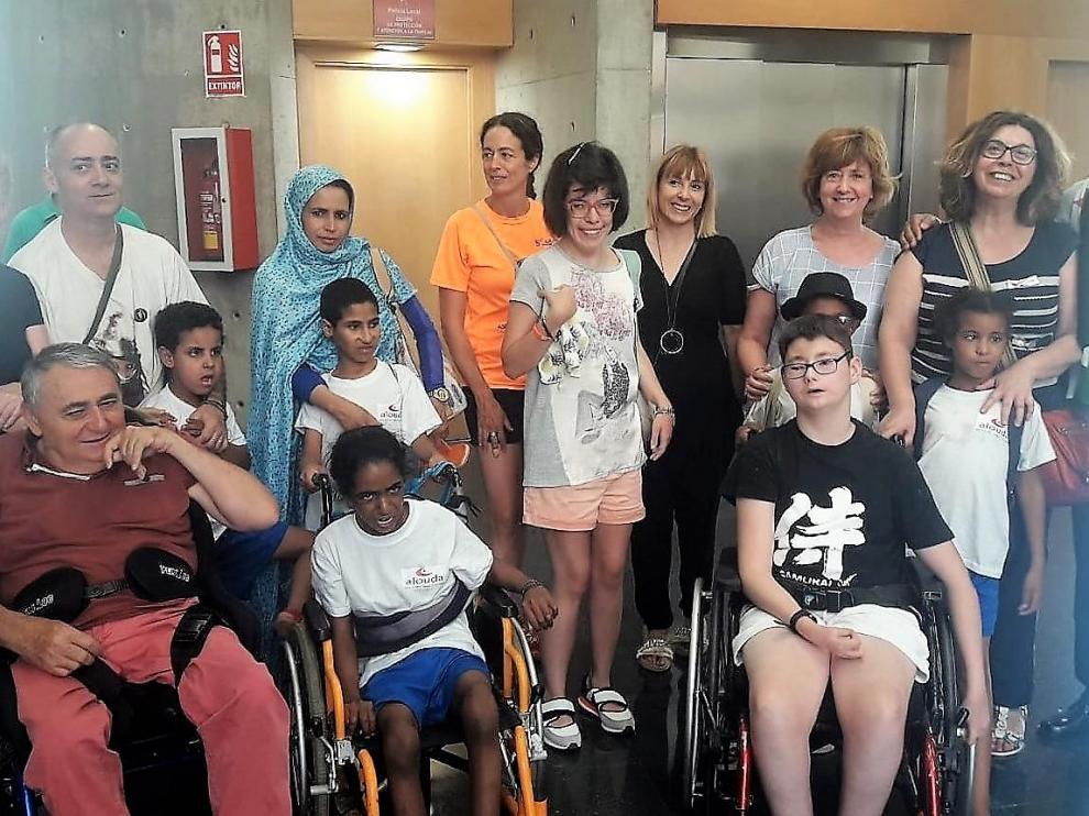 Algunos de los niños saharauis llegados a Huesca este nueve de agosto.