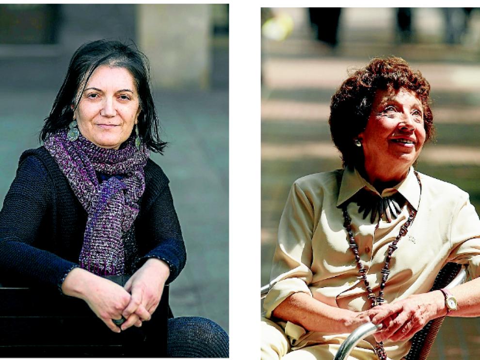 La poeta y filóloga María Pilar Benítez y la poeta y maestra Mariví Nicolás.