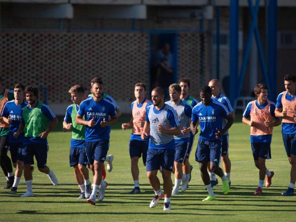 La plantilla del Real Zaragoza, de nuevo en marcha en la pretemporada 2018-19.