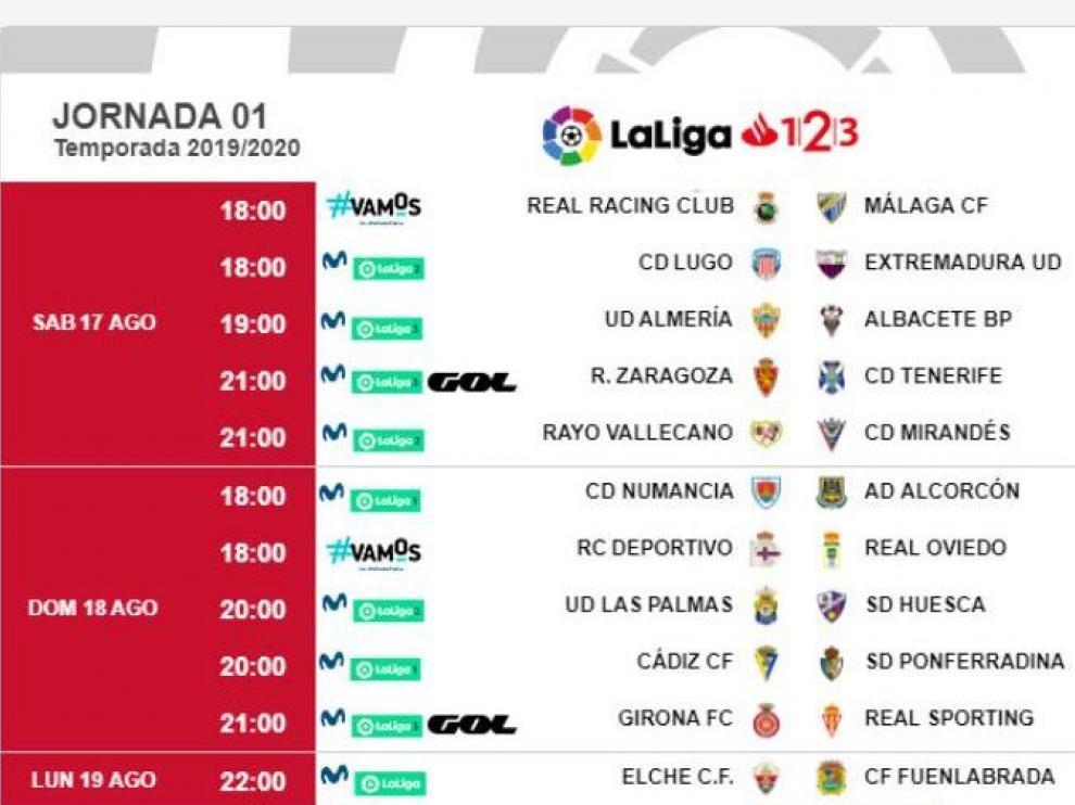 Días y horas de la primera jornada de liga de Segunda División, con el Real Zaragoza-Tenerife ubicado por la LFP en la noche del sábado 17 de agosto.