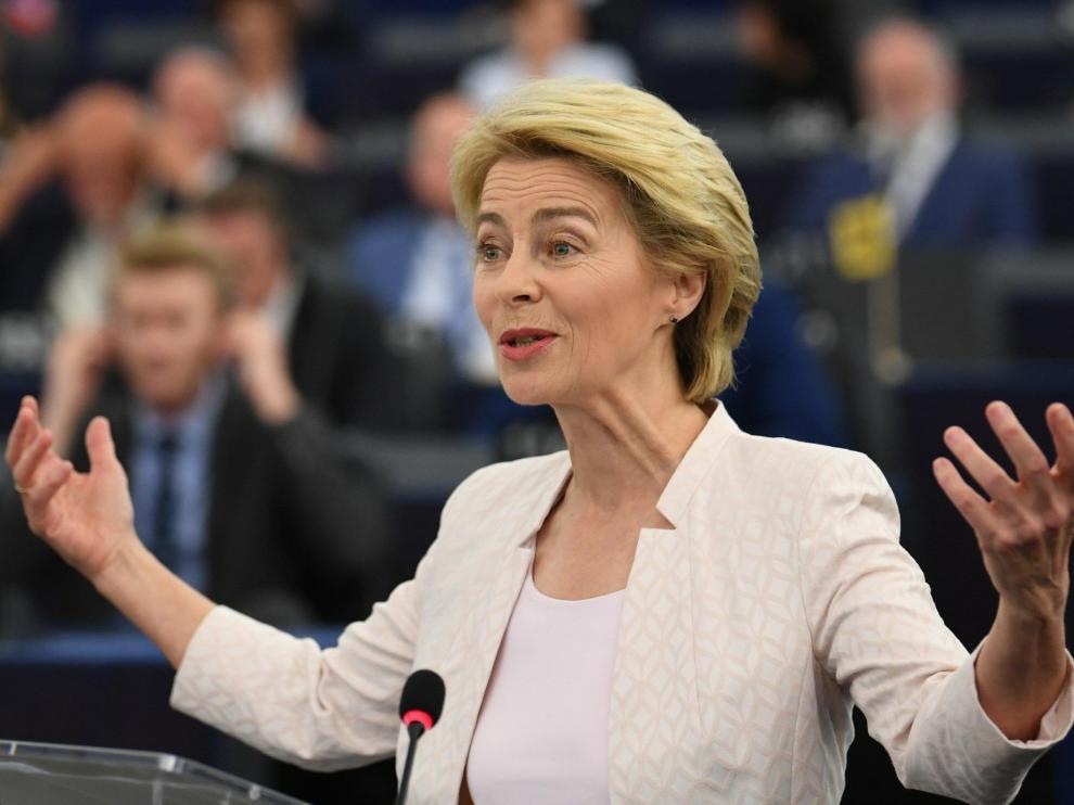 Strasbourg (France), 16/07/2019.- German Defense Minister Ursula von der Leyen and nominated President of the European Commission delivers her statement at the European Parliament in Strasbourg, France, 16 July 2019. (Francia, Estrasburgo) EFE/EPA/PATRICK SEEGER European Parliament in Strasbourg