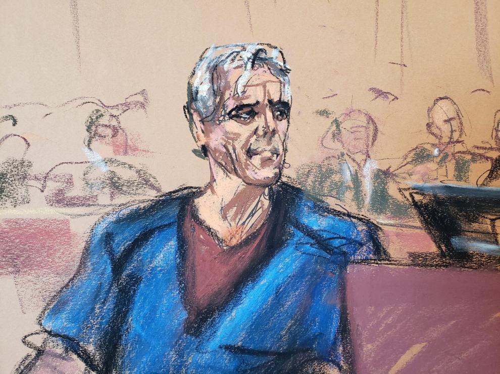 Dibujo de Jefrey Epstein realizado este lunes en el tribunal de Nueva York.