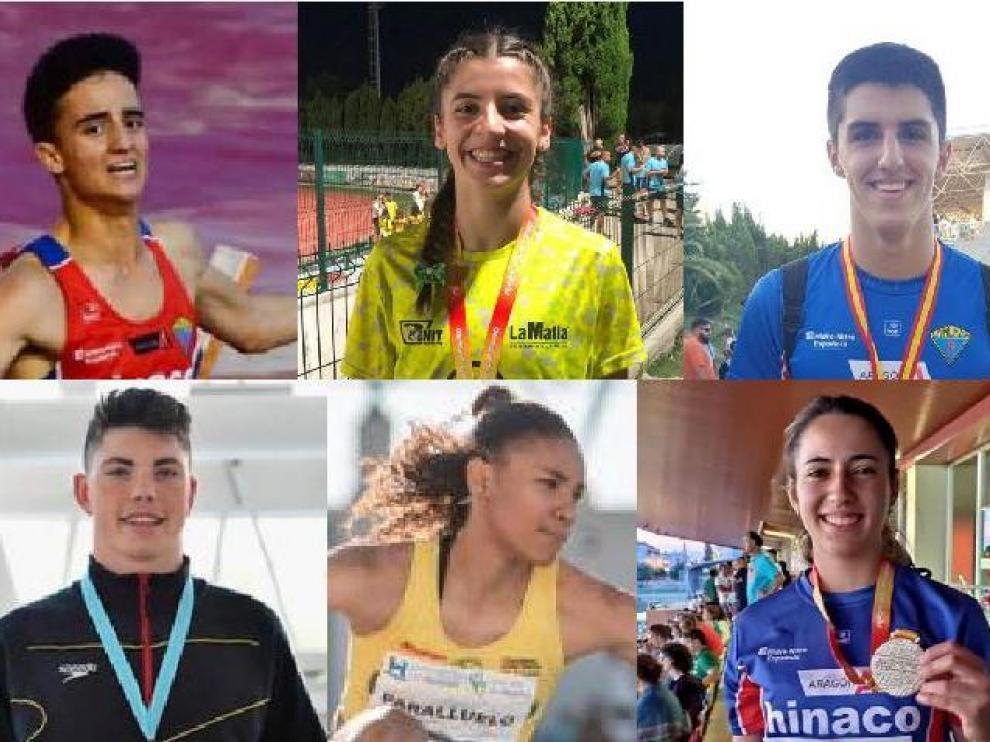Arriba, los atletas Pol Oriach, Mireya Arnedillo y Mario Revenga; abajo, el nadador Luis Domínguez y las atletas Salma Paralluelo y Laura Pintiel.
