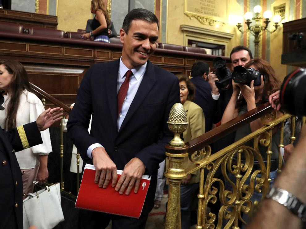 Sánchez, durante la primera jornada de la sesión de investidura.