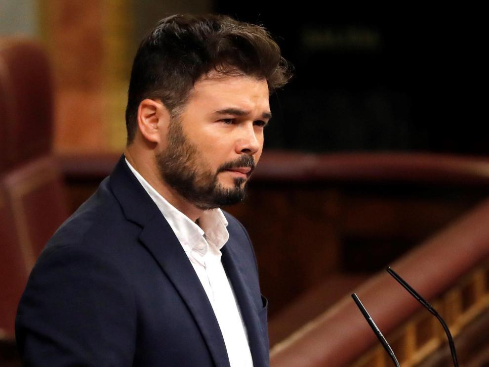 Gabriel Rufián en la tribuna del Congreso