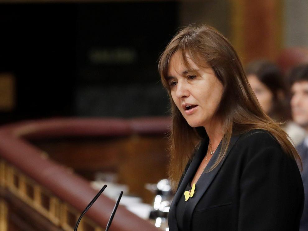 La portavoz de JxCat en el Congreso, Laura Borràs, interviene este martes en el Congreso, durante la segunda jornada del debate del candidato socialista, Pedro Sánchez