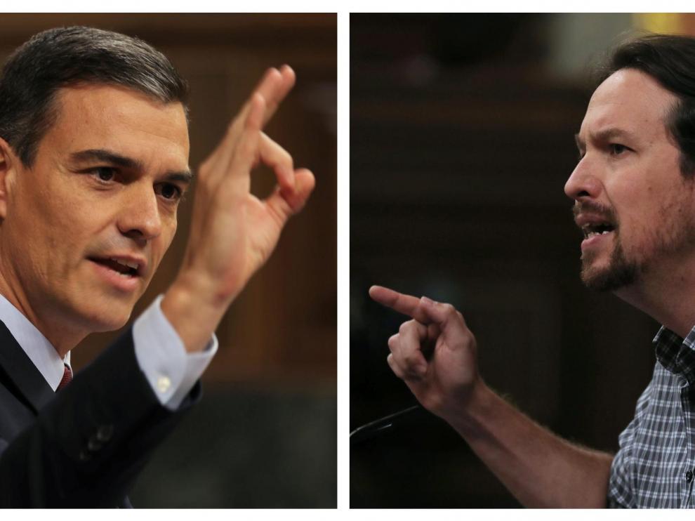 Pedro Sánchez y Pablo Iglesias durante su enfrentamiento en la primera jornada del debate de investidura.