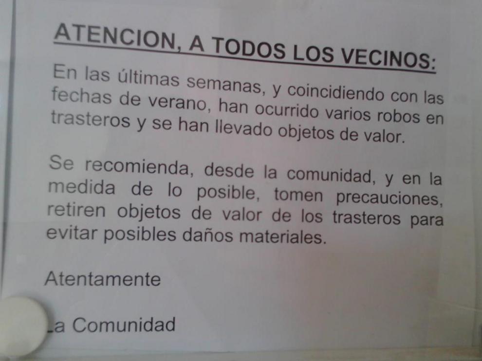 Aviso por los robos que se cometen en algunas zonas de Valdespartera