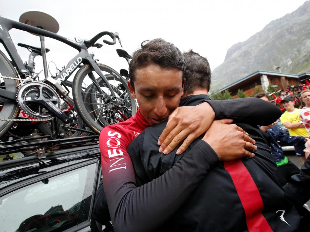 Cycling - Tour de France - The 126.5-km Stage 19 from Saint-Jean-de-Maurienne to Tignes - July 26, 2019 - Team INEOS rider Egan Bernal of Colombia reacts after confirmation that he wins the stage and will be the new yellow jersey. REUTERS/Christian Hartmann [[[REUTERS VOCENTO]]] CYCLING-FRANCE/