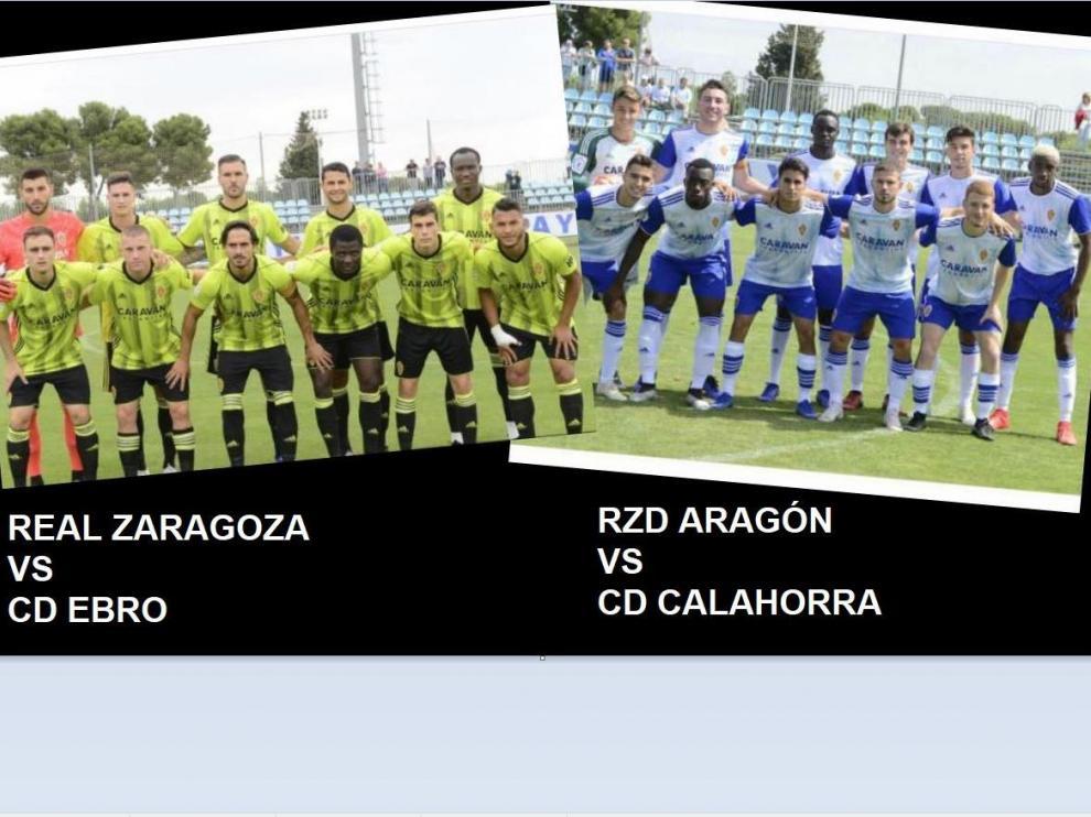 A la dcha., el Real Zaragoza antes de jugar este sábado ante el CD Ebro. A la izda., el Aragón, dos horas más tarde, antes de iniciar su partido contra el Calahorra.