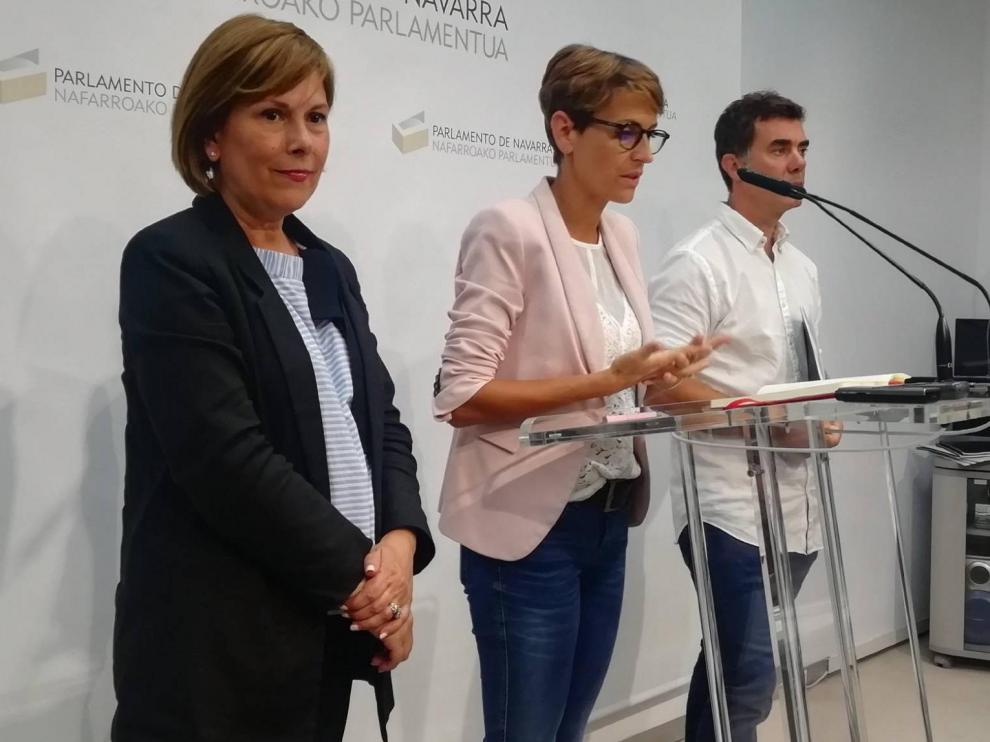 Uxue Barkos, María Chivite y Eduardo Santos explican este viernes el acuerdo en Pamplona para gobernar Navarra