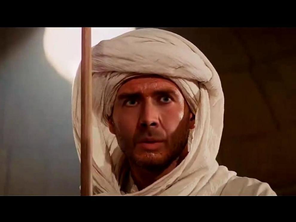 La cara de Nicolas Cage empleada para manipular el rostro de Harrison Ford en 'En busca del arca perdida'.