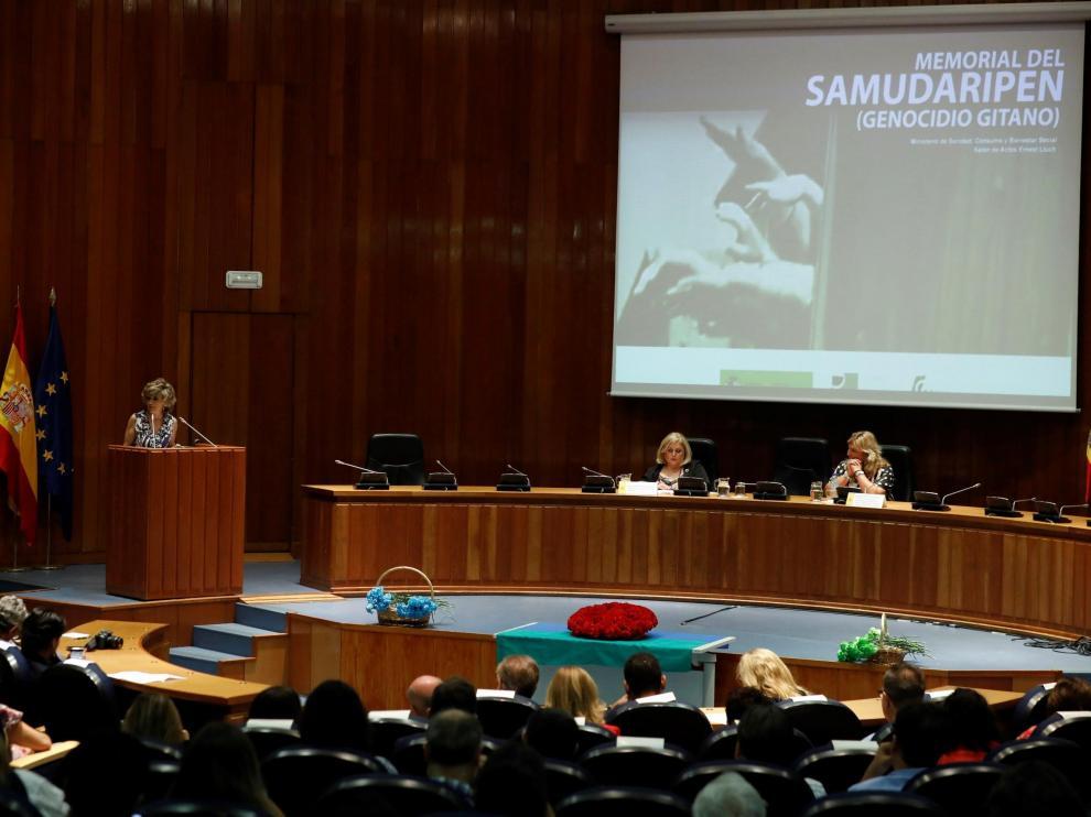 La ministra de Sanidad, Bienestar Social y Consumo en funciones, María Luisa Carcedo, durante su intervención.