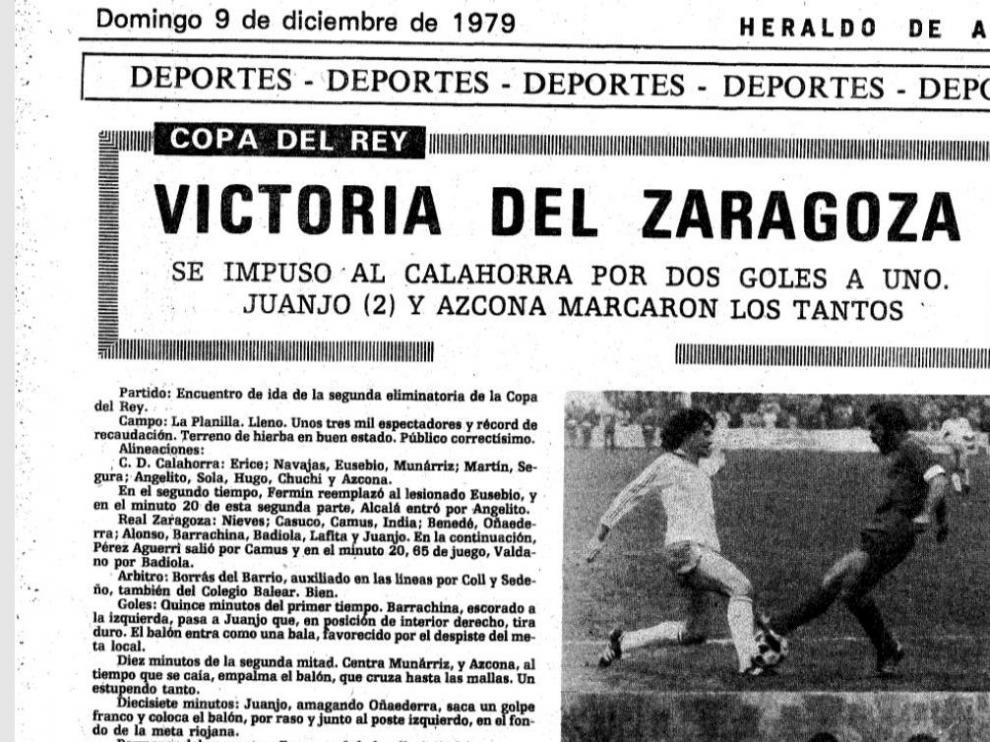 Ficha de la crónica de HERALDO DE ARAGÓN del partido CD Calahorra-Real Zaragoza de Copa del año 1979 en La Planilla.