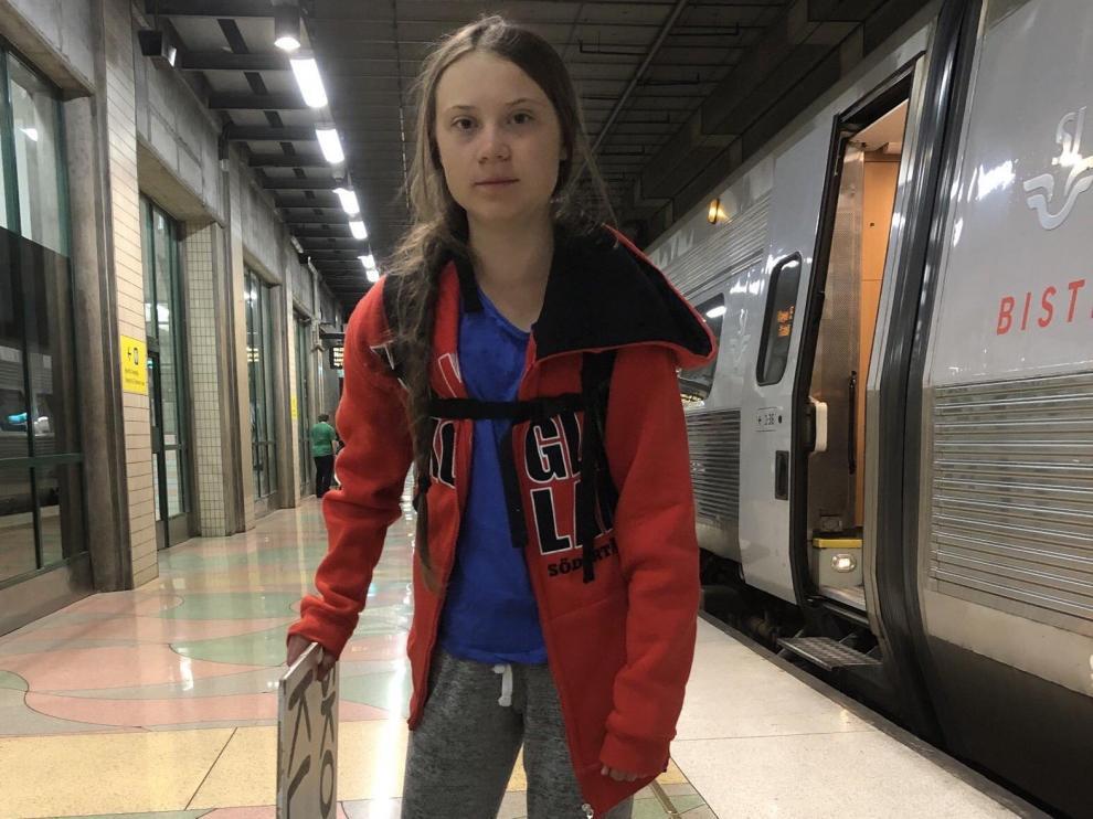 La activista medioambiental sueca Greta Thunberg partió este sábado hacia Ginebra.