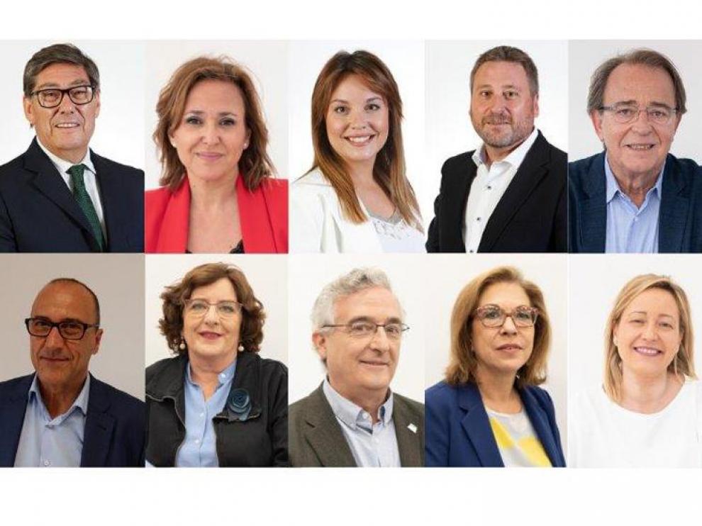 El nuevo Gobierno cuatripartito de Lambán, con Aliaga de vicepresidente y nueve consejeros.