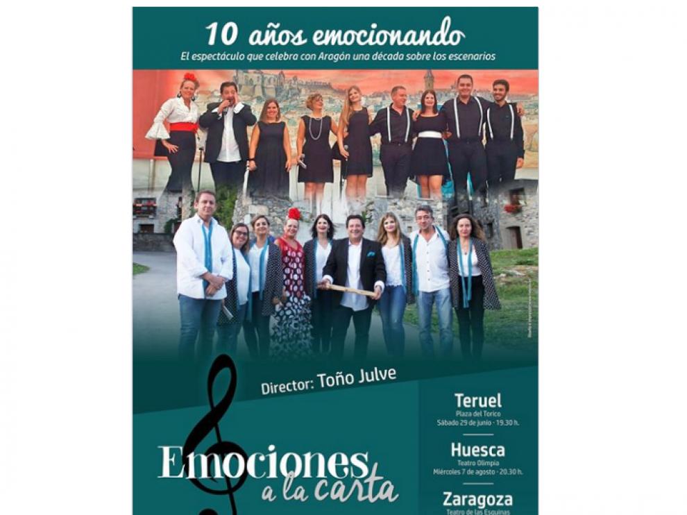 Emociones a la carta actuará este miércoles en Huesca y en noviembre en Zaragoza.