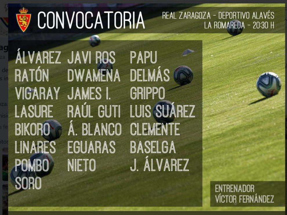 Lista de convocados del Real Zaragoza para el partido de presentación ante el Alavés de este miércoles en La Romareda (20.30), en Trofeo Ciudad de Zaragoza-Memorial Carlos Lapetra.
