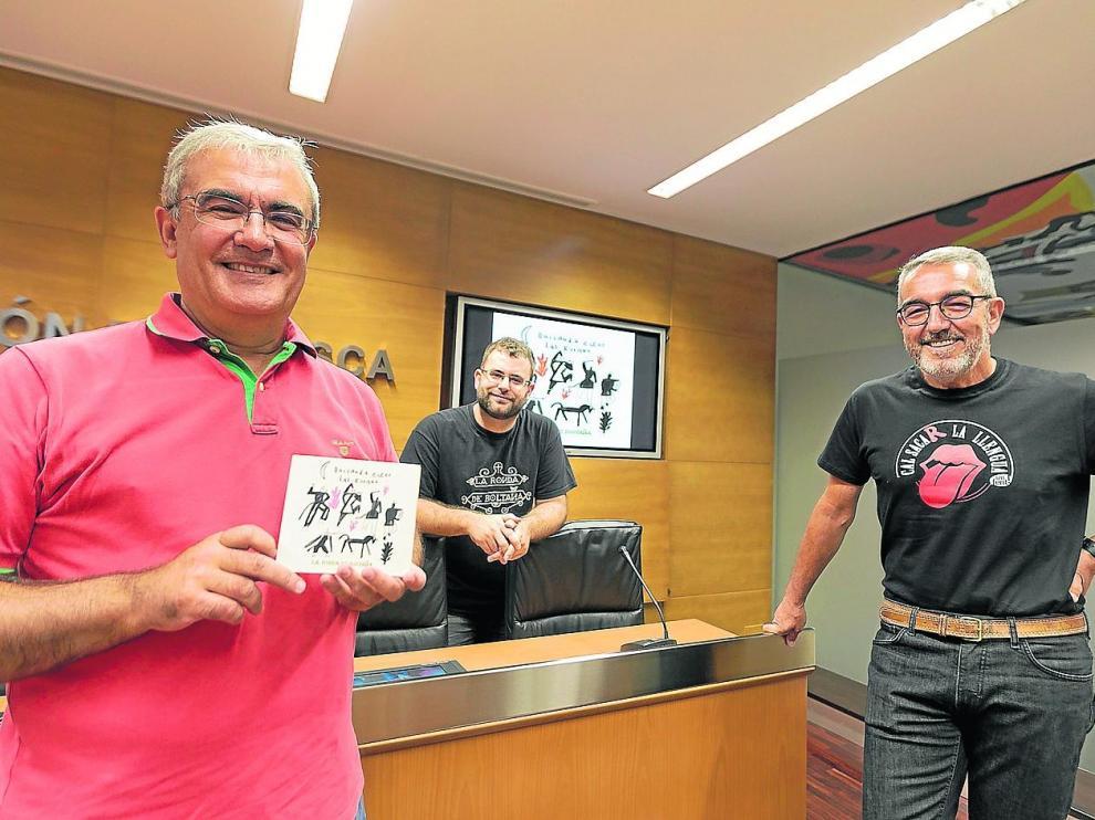 Manuel Domínguez, Francho Sarrablo e Ignacio Pardinilla, ayer en la DPH, donde presentaron su nuevo disco