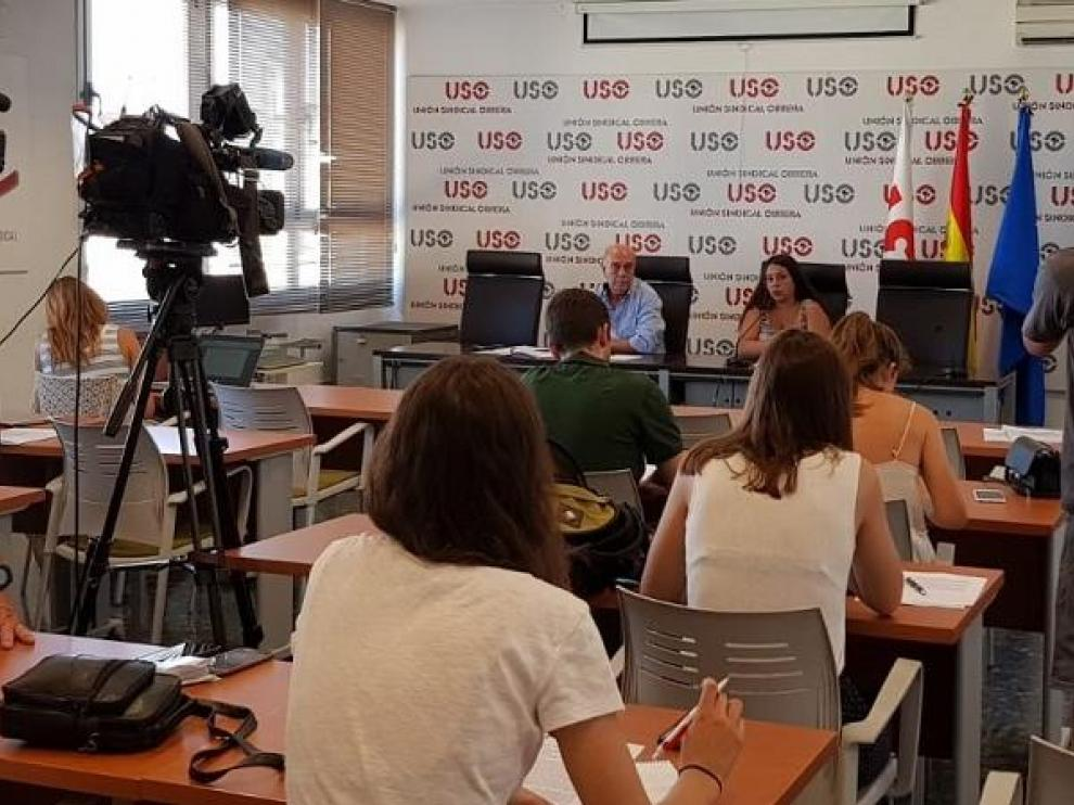 Rueda de prensa de la Unión Sindical Obrera este martes donde se ha presentado el informe 'Anomalías de nuestro mercado de trabajo'.