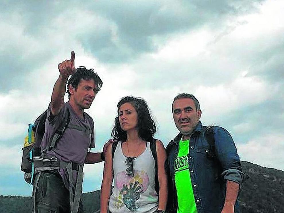 Daniel Benito (yerno) y Katya y Cristian Ríos (hijos del desaparecido)