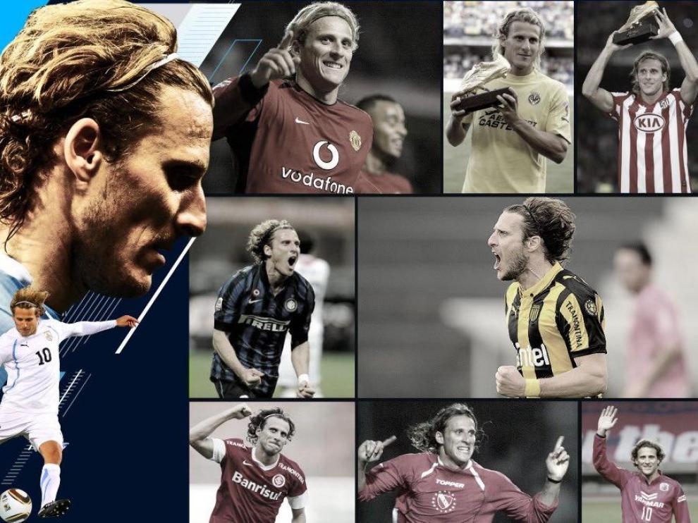 Fotomontaje con distintas etapas como futbolista de Diego Forlán