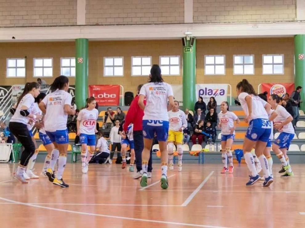 La plantilla del Sala Zaragoza, en un partido de la pasada temporada