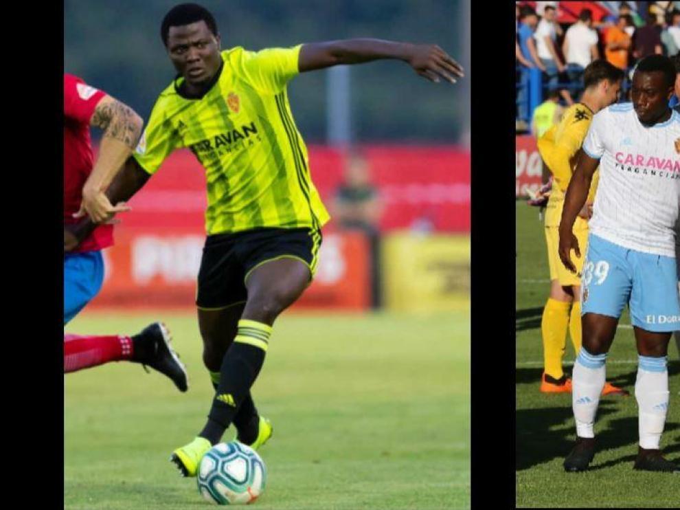 Bikoro (izda.) y Jannick Buyla (dcha.), los dos ecuatoguineanos del Real Zaragoza que han sido llamados por la selección nacional de su país.