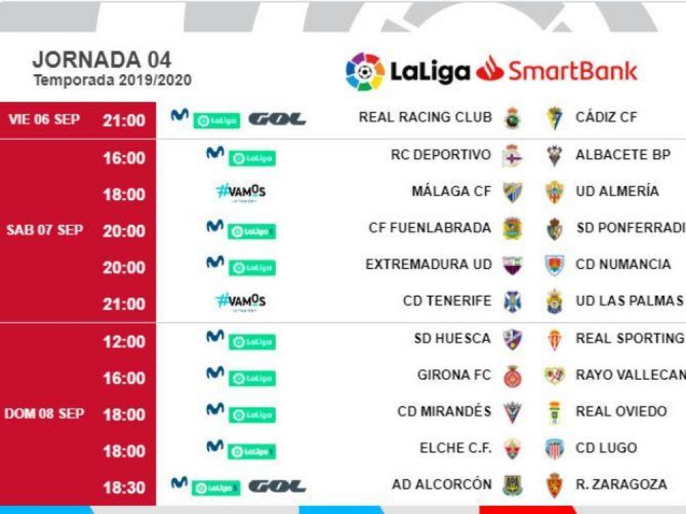 Fechas y horarios de la 4ª jornada, con el partido Alcorcón-Real Zaragoza en la tarde del domingo 8 de septiembre.
