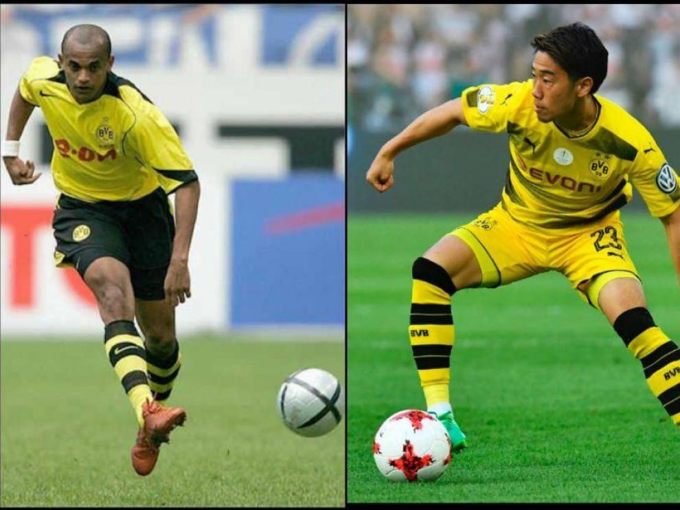 Ewerthon (izda.) y Kagawa (dcha.), ambos con el Borussia Dortmund alemán antes de fichar por el Real Zaragoza, uno en 2005 y el otro en 2019.