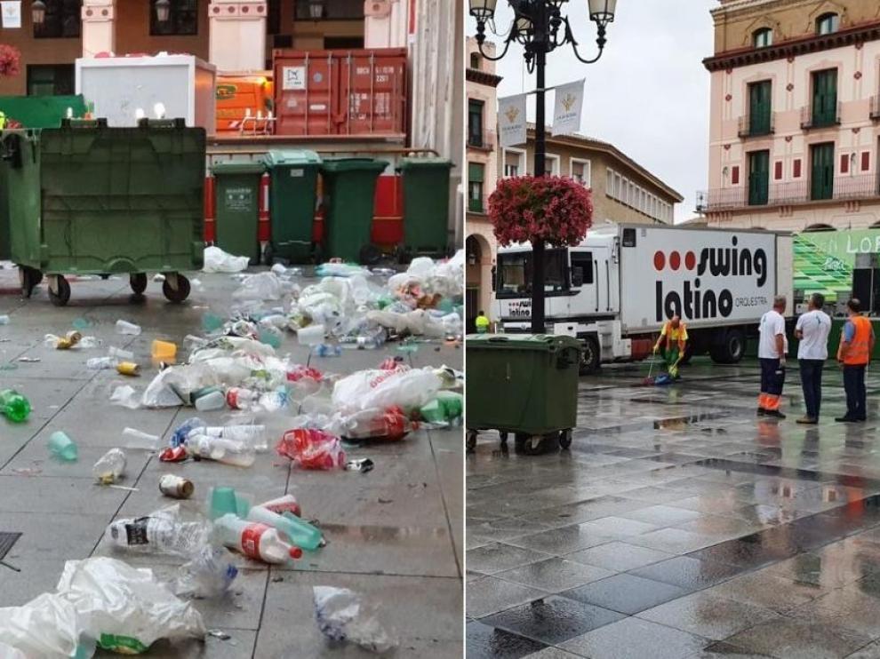 La plaza de Luis López Allué, donde se celebran las verbenas, antes y después de que pasen los servicios de limpieza.