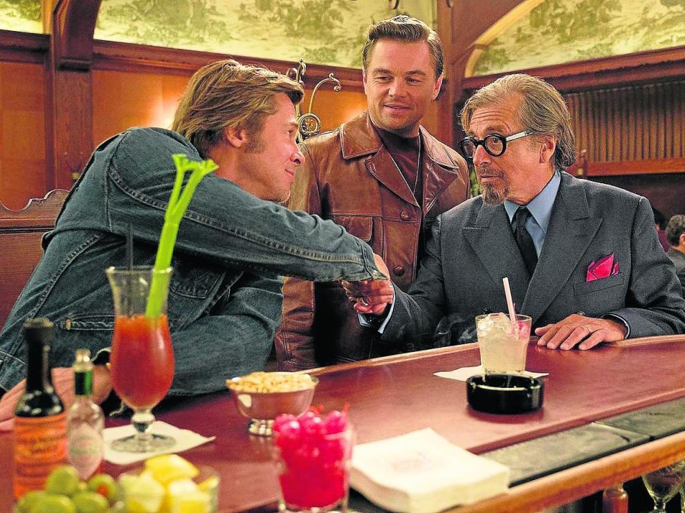 Brad Pitt, Leonardo DiCaprio y Al Pacino, protagonistas de la película 'Érase una vez en... Hollywood', de Tarantino.