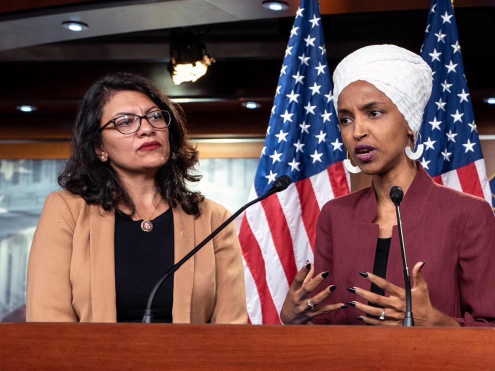 Las congresistas demócratas estadounidenses Ilhan Omar y Rashida Tlaib.