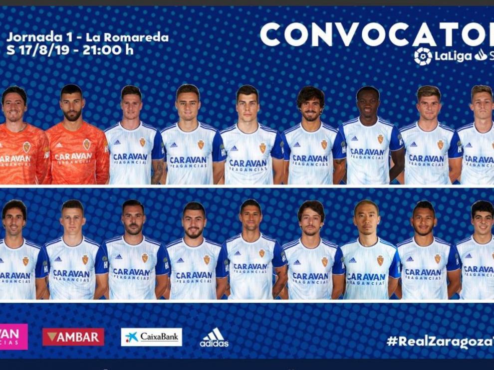 Lista de 18 convocados del Real Zaragoza para el debut liguero de este sábado ante el Tenerife en La Romareda.