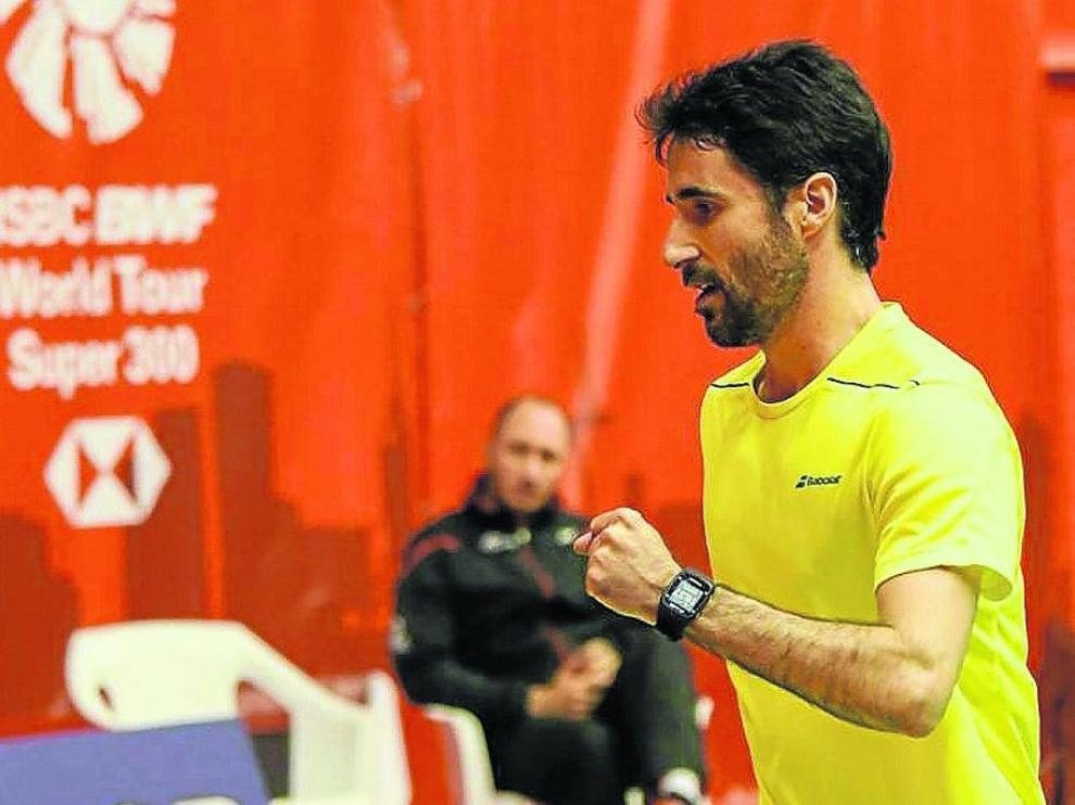 Pablo Abián celebra un punto en el pasado Barcelona Spain Masters
