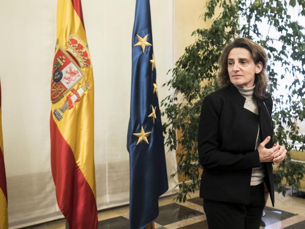 La ministra de Transición Ecológica, Teresa Ribera, durante su visita a Zaragoza en diciembre