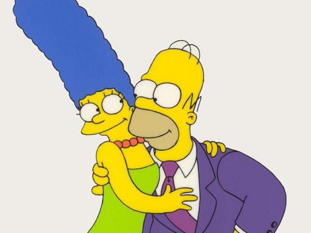 Homer Simpson y su esposa, protagonistas de la serie de animación.