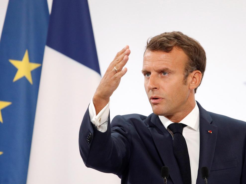 El presidente francés, Emmanuel Macron, este martes en el Palacio del Elíseo de París.