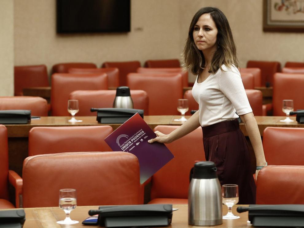La portavoz adjunta de Unidas Podemos en el Congreso, Ione Belarra.