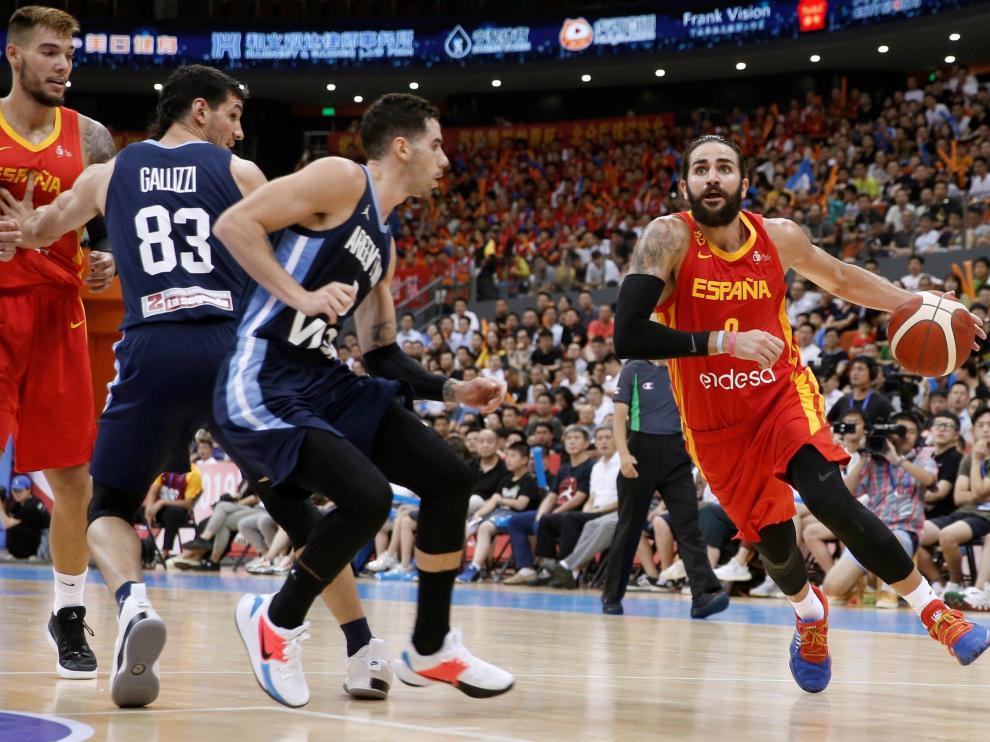 Partido amistoso en China entre España y Argentina.